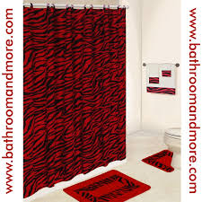 lush red zebra print bathroom set comes complete with fabric shower curtain rings three