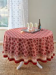 ruby kilim rustic red holiday decorative round tablecloth