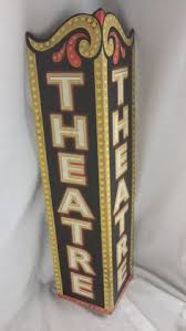 Small Picture Theater Triangle Embossed Metal Sign Emboss Triangles and Lobbies