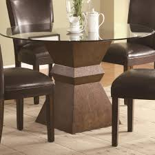 dining room carving brown wooden base with round glass top table combined with dark brown