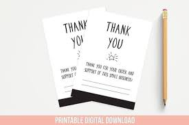 Business Thank You Note Cards Thank You For Supporting Small Business Printable Note Cards Etsy