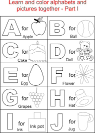 Small Picture Alphabet Part I coloring printable page for kids Alphabets