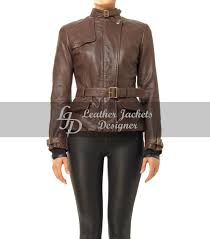 Designer Jackets Womens Womens Brown Vintage Style Moto Belted Leather Jacket