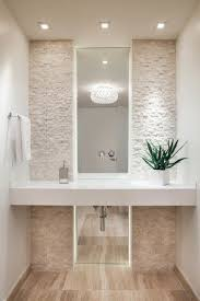 contemporary powder room all white cream stone accent wall ideas cobblestone washroom bathroom modern