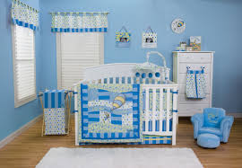furniture: Pretty Blue Accents Wall Paint For Contemporary Baby Nursery  Room Idea Feat Likeable White