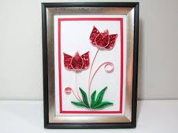 Paper Quilling Flower Frames Red Rose Paper Quilling Flower Artgift For Mother Etsy