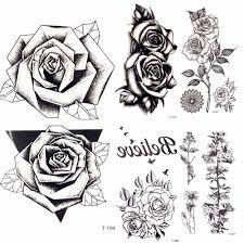 летняя горячая 3d черная треугольная роза временная татуировка женская вечерние