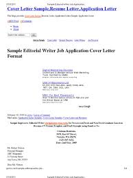 Sample Editorial Writer Job Application Cover Letter Format Cover
