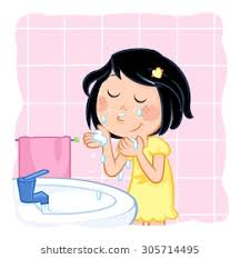 washing face clipart. Delighful Face Cute Little Girl With Dark Hair Washing Her Face Throughout Washing Face Clipart P