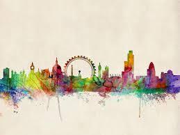 london digital art london skyline watercolour by michael tompsett