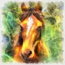 horse digital painting
