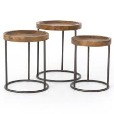 loup rustic loft reclaimed iron nesting table set of 3 kathy kuo home