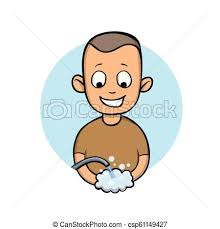 happy young man washing hands smiled boy vector cartoon ilration isolated on white