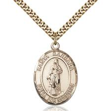 gold filled santa barbara pendant 1 x 3 4 inches with heavy curb chain zoom