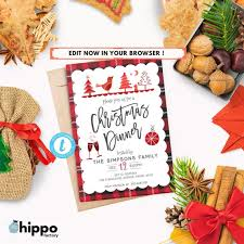 Holiday Dinner Invitation Template Editable Christmas Dinner Invitation Holiday Dinner Christmas Party Invitations Christmas Invitation Template Instant Download Cp26
