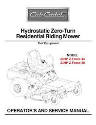 z force 50 cub cadet hydrostatic zero turn riding lawn mower manual location