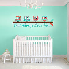 turquoise and c owl always love you wall decal