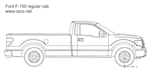 Autocad drawing pick-up Ford F-150 regular cab side view dwg