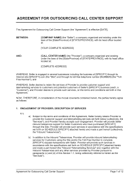 Export Contract Sample Gorgeous Agreement For Outsourcing Call Center Support Template Sample