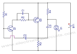 v one battery led light flasher circuit diagram   electronic       v one battery led light flasher circuit schematic