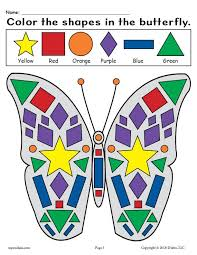Butterflies are always fun to draw and colour. Printable Butterfly Shapes Coloring Pages Supplyme