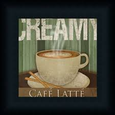 Cafe Latte Kitchen Decor Creamy Cafc Latte Kitchen Dccor Coffee Sign Framed Art Print Wall