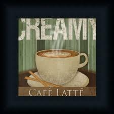 Coffee Decor For Kitchen Creamy Cafac Latte Kitchen Daccor Coffee Sign Framed Art Print Wall