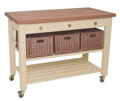 Kitchen Trolley 3 Drawer Painted French Grey Natural Top Kitchen Trolley