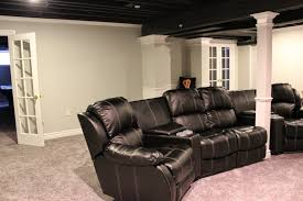 rustic basement design ideas. Basement Designs Ideas Dark Paint Open Ceiling With Rustic Design