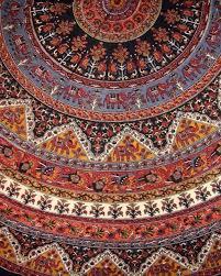 indian mandala print round cotton tablecloth 76 brown
