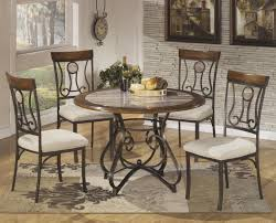 Marble Dining Table Round 5 Piece Round Dining Table Set With Steel Frame Faux Marble