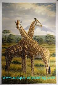 home all s animal oil painting giraffe deer bull cowgiraffe oil painting