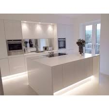 White Kitchen Modern Modern White Gloss Integrated Handle Kitchen With 18mm Corian Wrap