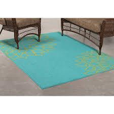 mainstays outdoor flower polypropylene rug turquoise 6 x 8 com