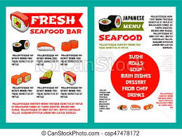 Japanese Seafood Restaurant, Sushi Bar Menu Design. Japanese Seafood ...