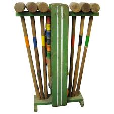vintage wooden croquet set with stand