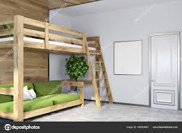 Weiße Wand Schlafzimmer Ecke Grüne Hochbett Poster Stockfoto