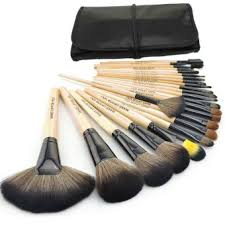 make up for you 24 pcs professional cosmetic makeup brush set beige with pouch bag