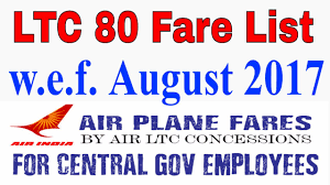 Air India Ltc 80 Fare With Effect From 01 August 2017 For Central Govt Employees_ltc 80 Fare List