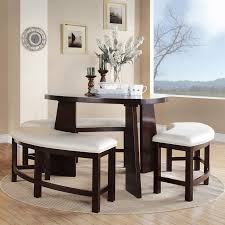 admirable dining room scheme with bench with high triangle table top and half circular bench shape