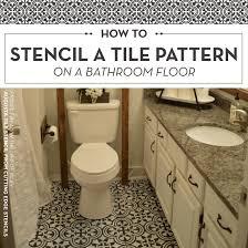 cutting edge stencils diy stenciled bathroom floor augusta tile stencil pattern jpg