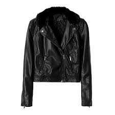 leather look biker jacket with faux fur collar image