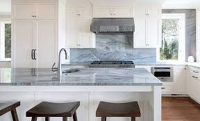 blue macaubus quartzite countertops on kitchen island and backsplash