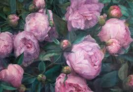 peonies oil painting on canvas by u jorda at 1stdibs