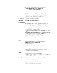 Sales Associate Job Description Resume