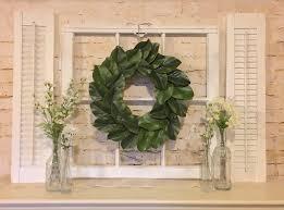 farmhouse decor shutter wall decor window frame magnolia wreath associated with window pane mirror