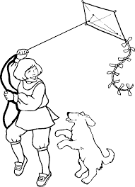 Small Picture Man Flying A Kite Colouring Pages Coloring Home