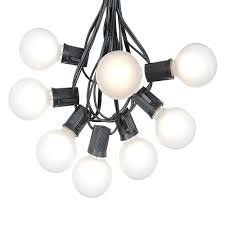 lighting strings. Picture Of 25 G50 Globe Light String Set With Satin White Bulbs On Black Wire Lighting Strings