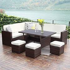 amazon wisteria lane patio furniture set 10 pcs outdoor conversation set all weather wicker sectional sofa couch dining table chair with ottoman brown