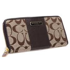 Discount Coach Logo In Signature Large Coffee Wallets CHX Clearance